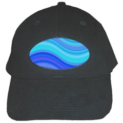 Blue Background Water Design Wave Black Cap by BangZart