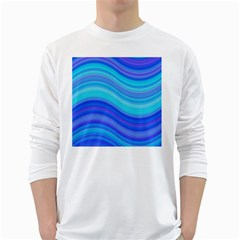 Blue Background Water Design Wave White Long Sleeve T Shirts