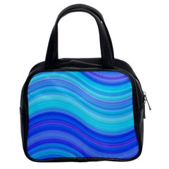 Blue Background Water Design Wave Classic Handbags (2 Sides)