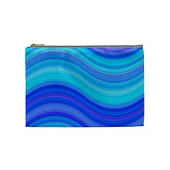 Blue Background Water Design Wave Cosmetic Bag (medium)  by BangZart