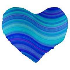 Blue Background Water Design Wave Large 19  Premium Heart Shape Cushions