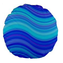 Blue Background Water Design Wave Large 18  Premium Flano Round Cushions