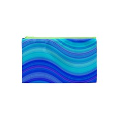 Blue Background Water Design Wave Cosmetic Bag (xs)