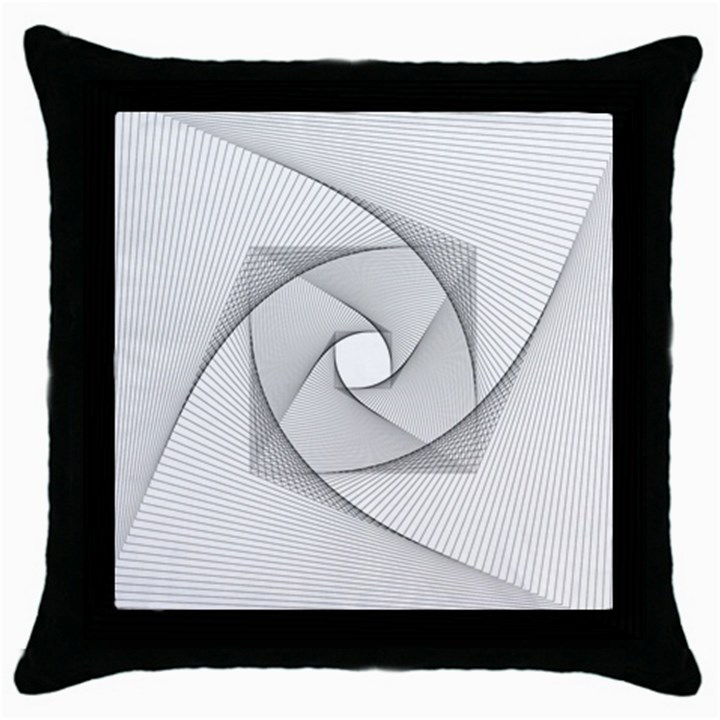 Rotation Rotated Spiral Swirl Throw Pillow Case (Black)