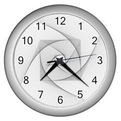 Rotation Rotated Spiral Swirl Wall Clocks (silver)  by BangZart