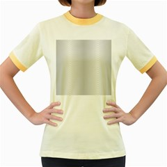 Monochrome Curve Line Pattern Wave Women s Fitted Ringer T Shirts