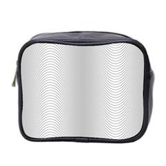Monochrome Curve Line Pattern Wave Mini Toiletries Bag 2 Side