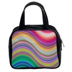 Wave Background Happy Design Classic Handbags (2 Sides)