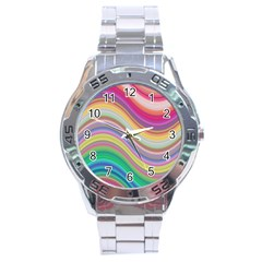 Wave Background Happy Design Stainless Steel Analogue Watch by BangZart