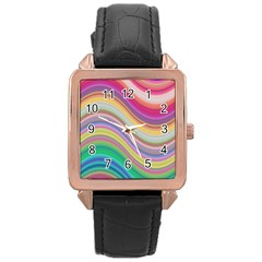 Wave Background Happy Design Rose Gold Leather Watch