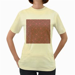 Triangle Background Abstract Women s Yellow T Shirt