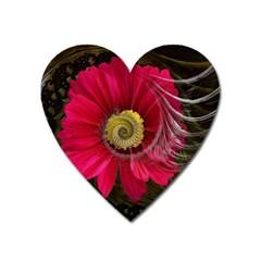 Fantasy Flower Fractal Blossom Heart Magnet by BangZart