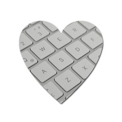 Keyboard Letters Key Print White Heart Magnet