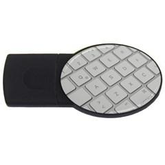 Keyboard Letters Key Print White Usb Flash Drive Oval (2 Gb)