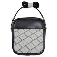 Keyboard Letters Key Print White Girls Sling Bags