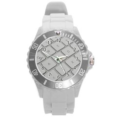 Keyboard Letters Key Print White Round Plastic Sport Watch (l) by BangZart