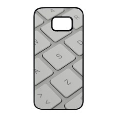 Keyboard Letters Key Print White Samsung Galaxy S7 Edge Black Seamless Case