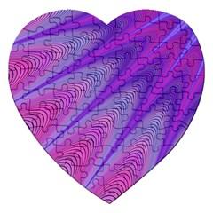 Purple Star Sun Sunshine Fractal Jigsaw Puzzle (heart) by BangZart