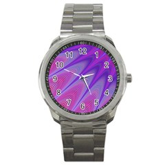 Purple Star Sun Sunshine Fractal Sport Metal Watch