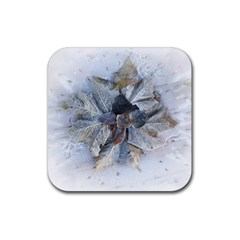 Winter Frost Ice Sheet Leaves Rubber Square Coaster (4 Pack)
