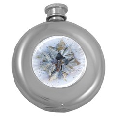 Winter Frost Ice Sheet Leaves Round Hip Flask (5 Oz)