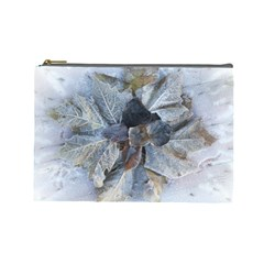 Winter Frost Ice Sheet Leaves Cosmetic Bag (large)  by BangZart