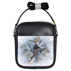 Winter Frost Ice Sheet Leaves Girls Sling Bags by BangZart