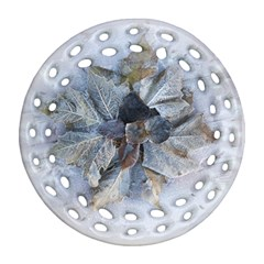 Winter Frost Ice Sheet Leaves Round Filigree Ornament (two Sides)
