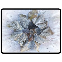 Winter Frost Ice Sheet Leaves Double Sided Fleece Blanket (large)
