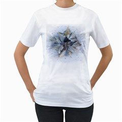 Winter Frost Ice Sheet Leaves Women s T Shirt (white)