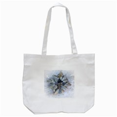 Winter Frost Ice Sheet Leaves Tote Bag (white)