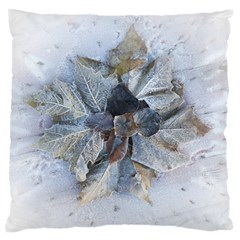Winter Frost Ice Sheet Leaves Large Flano Cushion Case (two Sides)
