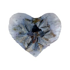 Winter Frost Ice Sheet Leaves Standard 16  Premium Flano Heart Shape Cushions