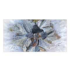 Winter Frost Ice Sheet Leaves Satin Shawl