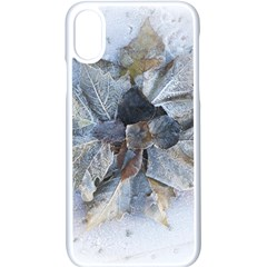 Winter Frost Ice Sheet Leaves Apple Iphone X Seamless Case (white)
