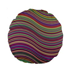 Wave Abstract Happy Background Standard 15  Premium Round Cushions by BangZart