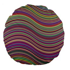 Wave Abstract Happy Background Large 18  Premium Flano Round Cushions