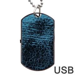 Blue Black Shiny Fabric Pattern Dog Tag Usb Flash (two Sides)