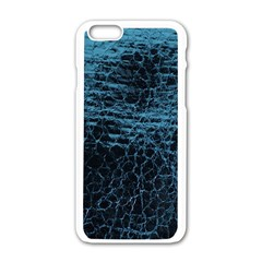 Blue Black Shiny Fabric Pattern Apple Iphone 6/6s White Enamel Case