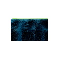 Blue Black Shiny Fabric Pattern Cosmetic Bag (xs)