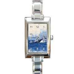Whale Watercolor Sea Rectangle Italian Charm Watch