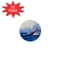 Whale Watercolor Sea 1  Mini Buttons (10 Pack)