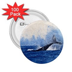 Whale Watercolor Sea 2 25  Buttons (100 Pack)