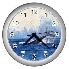 Whale Watercolor Sea Wall Clocks (silver)