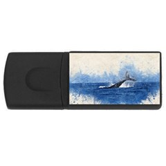 Whale Watercolor Sea Rectangular Usb Flash Drive