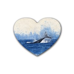 Whale Watercolor Sea Heart Coaster (4 Pack)