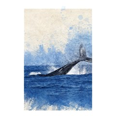 Whale Watercolor Sea Shower Curtain 48  X 72  (small)