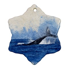 Whale Watercolor Sea Snowflake Ornament (two Sides)