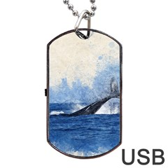 Whale Watercolor Sea Dog Tag Usb Flash (two Sides)