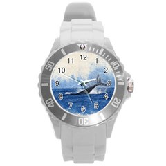 Whale Watercolor Sea Round Plastic Sport Watch (l)